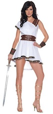 Womens Roman Warrior Costume Sexy White Grecian Dress