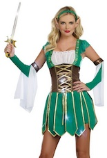Women Warrior Elf Green Costume