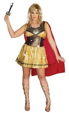 Womens Golden Gladiator Warrior Dress PLUS size