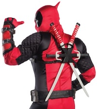 Deadpool Cosplay costume for adults behind