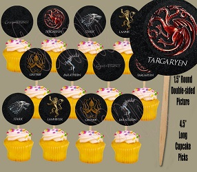 Game of Thrones Party Decorations Balloons - cupcake toppers