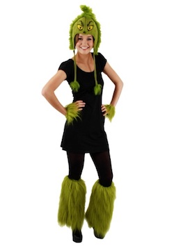 Christmas Grinch Costumes for Adults - fuzzy wrist cuffs