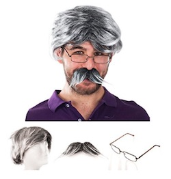 Netflix GLOW Producer Sam Costume for Men - wig and moustache