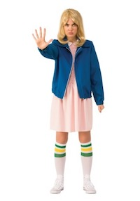 Stranger Things Eleven Pink Dress Costume with Blue Jacket