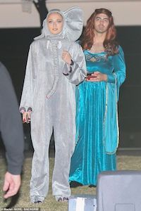 Celebrity Costume - Joe Jonas and Sophie Turner as an Elephant Costume and Sansa Stark