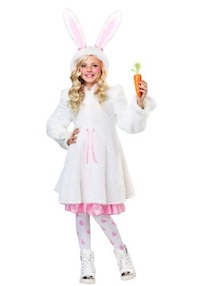 Child Fuzzy White Easter Bunny Costume
