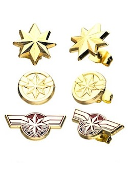 Adult Captain Marvel Costume Earring Set