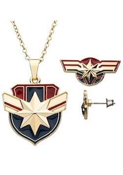 Adult Captain Marvel Costume Necklace Earring Set